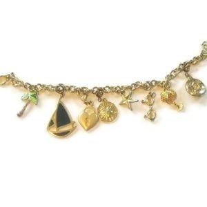 """Gold Tone Sea Ocean Enamel Charm Bracelet 7.1"""""""